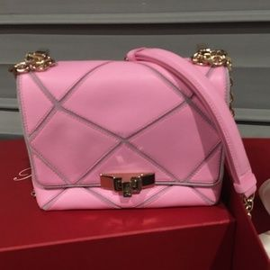 New Roger Vivier Pink Prismick Leather Shoulder ba